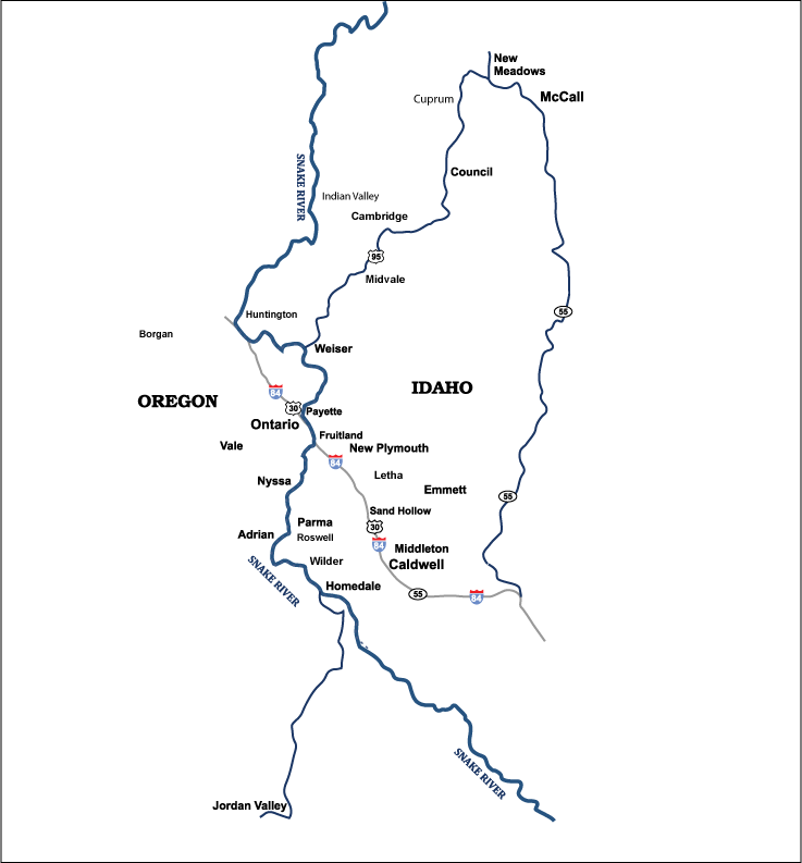 Map of Treasure Valley Plumbing and Drain Service's Service Area, serving the Idaho communities of Caldwell, Cambridge, Council, Fruitland, Homedale, Indian Valley, Letha, Middleton, Midvale, New Plymouth, Notus, Parma, Payette, Roswell, Weiser, Wilder, Idaho, in the counties of Adams, Canyon, Gem, Payette, Valley, and Washington, and the Oregon communities of Adrian, Brogan, Harper, Huntington, Jordan Valley, Juntura, Nyssa, Ontario, Vale, in Malheur County, Oregon.