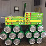 Gift of a John Deere Tractor made from cans and candy